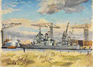 HMS 'Vanguard' from across the Clyde, February 1946