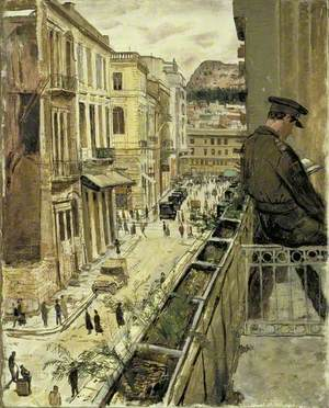 A Scene in Athens from the British Officers' Hotel Cosmopolitan