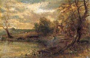 Landscape with a Man Fishing