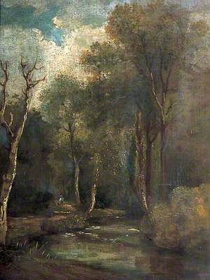 Woodland Scene with a Stream, a Man and a Dog