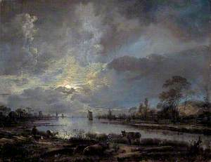 A River Moonlit Scene with Cattle