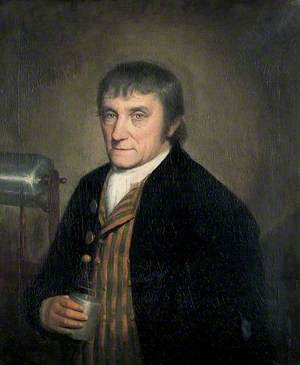 William Goulden (1749–1816) Holding a Leyden Jar with a Friction Machine for Generating Electricity in the Background, Founder of the Canterbury Philosophical and Literary Institution