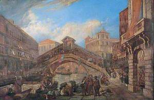 Trading on the Canal at the Rialto Bridge, Venice