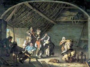 Peasants Dancing in a Barn
