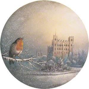 Rochester Castle, Kent, in Winter with Robin