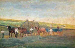 Naïve Painting of Delce Farm, Rochester, Kent, Showing Haymaking
