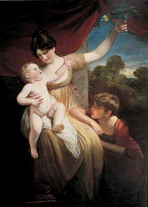 Lady with Two Children and a Parrot