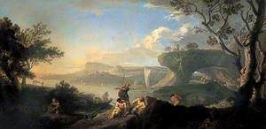 Classical Landscape, Coastal Scene with Fishermen