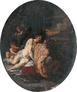 Classical Scene, Male and Female Figures with Putti