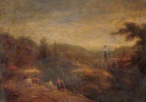 Landscape with Shepherd, Sheep and Cows
