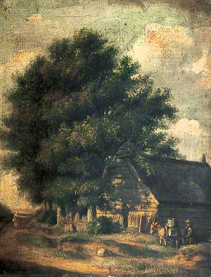 Group of Trees and Old Buildings with a Donkey