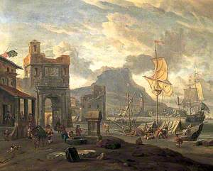 Port Scene with an Arch