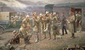 Arrival of a Convoy of Wounded Soldiers at Maidstone Station, Kent, 1916
