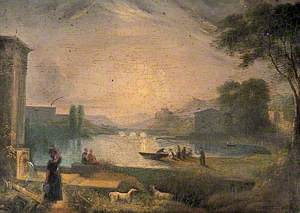 River Scene with Buildings and Bridge