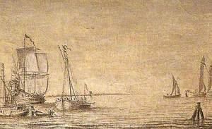 Shipping, a Kaag and a Warship at Anchor