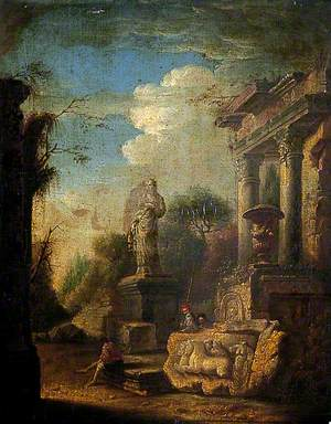 Ruins with a Statue