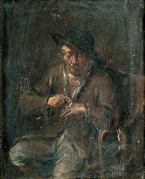 Peasant Sitting to Tend His Injured Hand