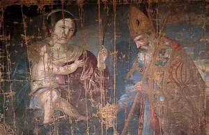 Saint Catherine of Siena and a Bishop Saint