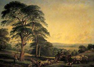 A Woodland Scene with a Wagon Drawn by Two Horses