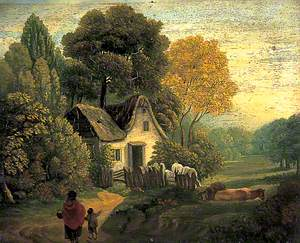 Cottage in a Wood with Cattle