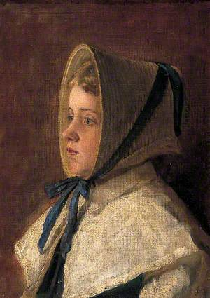 Head and Shoulders of a Girl Wearing the Bonnet as Worn by Girls of Dr Woodward's School, Maidstone