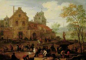Market Scene by a Fountain