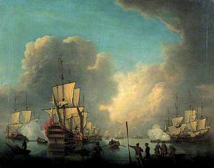 Embarkation of Troops, Ships at Anchor Firing the Evening Salute