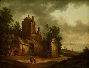 Landscape with a Ruined Building and Shipping in the Distance