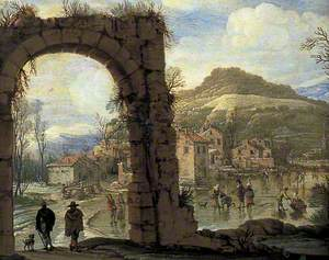 Winter Scene with an Arch