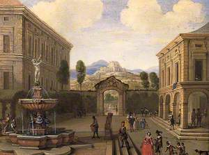 Summer Townscape with a Fountain