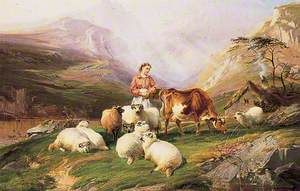 Cows and Sheep on a Mountain Pasture
