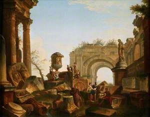 Ruins with an Urn and an Arch