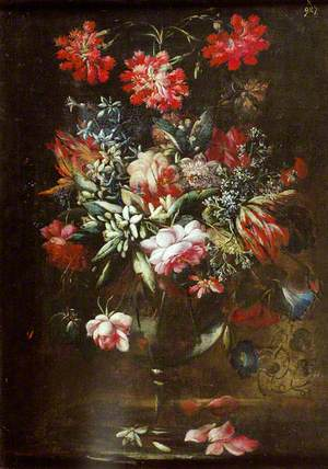 Carnations, Roses and Other Flowers in a Thin-Stemmed Vase