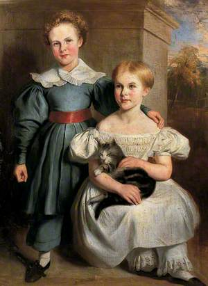 Two Children and a Cat