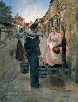 Sailor and a Girl in Delf Street, Sandwich, Kent