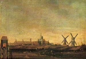 View of Sandwich, Kent, from the South with Post Mills and Newgate