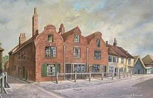 Flemish Gabled Cottages in the Cattle Market, Sandwich, Kent
