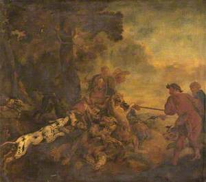 Hunting Scene with Hounds and Tigers