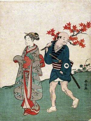 Woman with Servant Carrying a Maple Branch