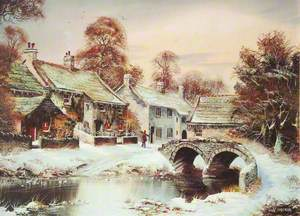 Snowy Scene with a River and a Bridge