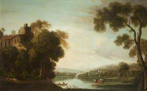 A River Scene with a Mansion Amongst Trees