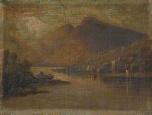 Landscape with a Mountain Lake, a Small Castle and Fishermen