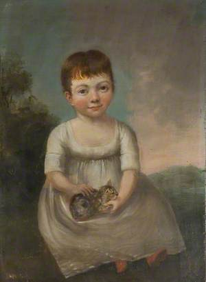 Portrait of a Girl Holding a Cat