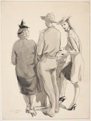 Three Figures Standing at a Counter
