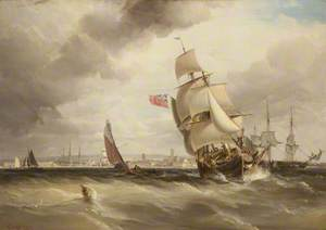 Off Portsmouth, in the Distance Nelson's Flagship, the 'Victory'