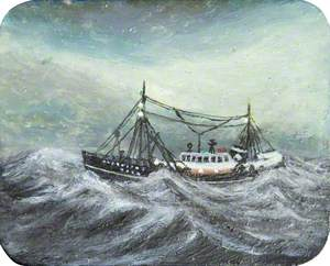 Trawler on Rough Grey Sea