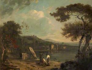 Italian Landscape (Lake Avernus) with Figures