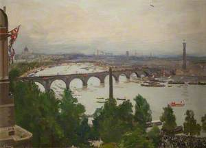 The River Pageant, as Seen from the Home of Sir James Barries, Adelphi Terrace, London, 4 August 1919