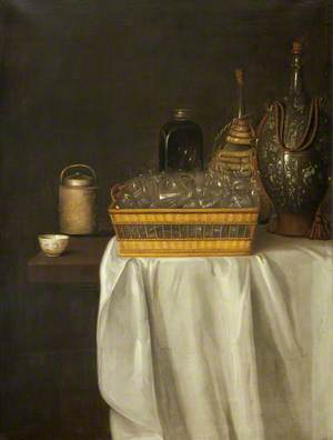 A Still Life of Wine Glasses and Flagons