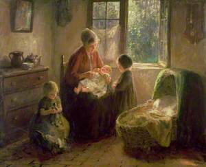 Dutch Interior with Mother and Children